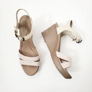 Crocs wedge sandals size 9